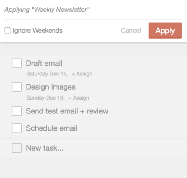 Newsletter task template