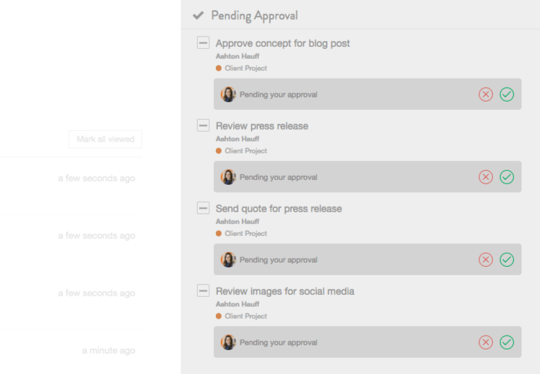 View tasks needing your approval right in your CoSchedule Dashboard.