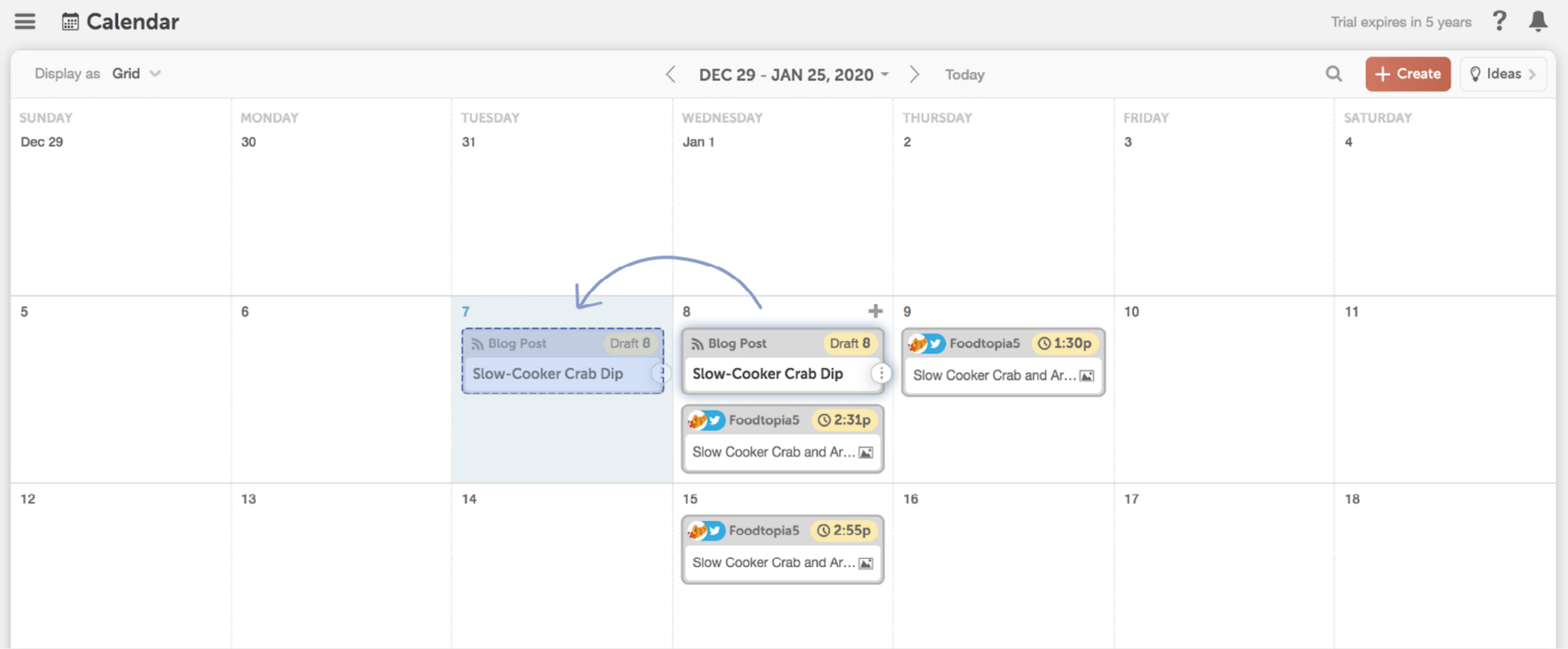 Easily drag and drop project on the CoSchedule calendar