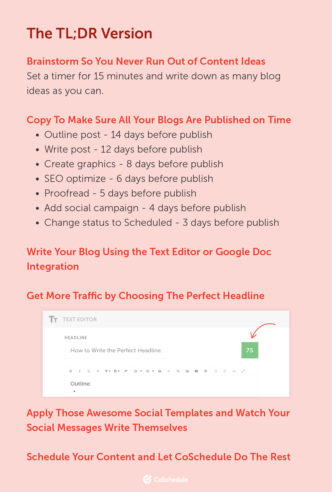 TL;DR Version. Brainstorm So You Never Run Out of Content Ideas. Copy To Make Sure All Your Blogs Are Published on Time. Write Your Blog Using The Text Editor or Google Doc Integration. Get More Traffic by Choosing The Perfect Headline. Apply Those Awesome Social Templates and Watch Your Social Messages Write Themselves. Schedule Your Content and Let CoSchedule Do The Rest