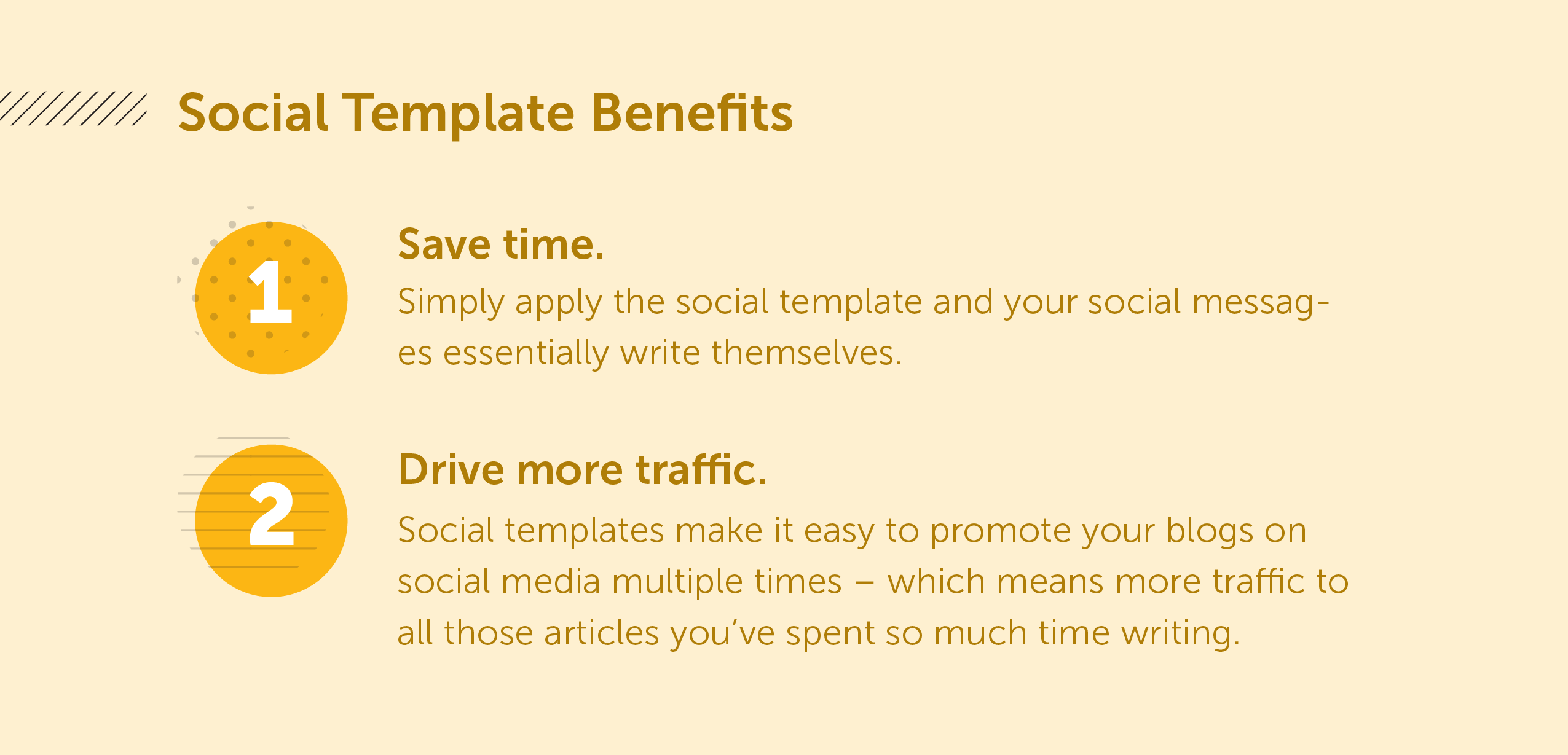 Save Template Benefits. 1: Save time. Simply apply the social template and your social messages essentially writes themselves. 2: Drive more traffic. Social templates make it easy to promote your blogs on social media multiple times.