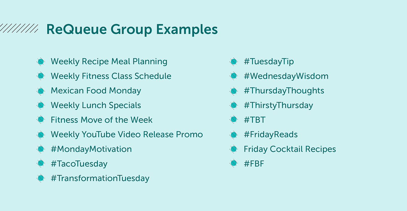 ReQueue Group Examples: Weekly Recipe Meal Planning, Weekly Fitness Class Shcedule, Mexican Food Monday, #TuesdayTip, #WednesdayWisdom, #TBT, etc.