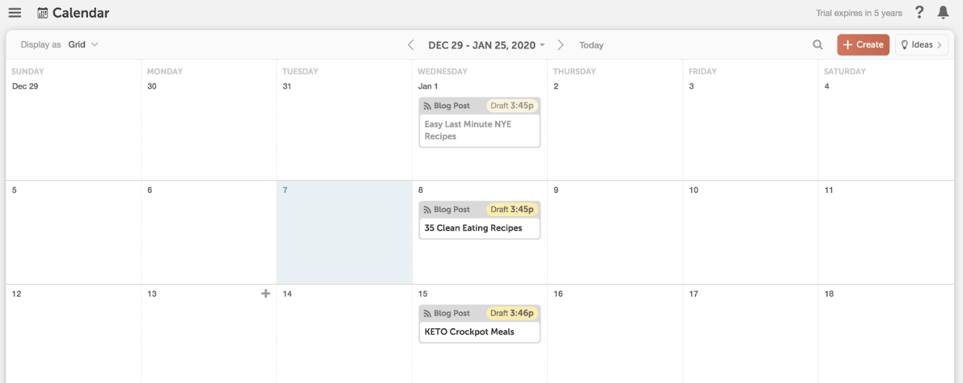 Content planned on CoSchedule calendar