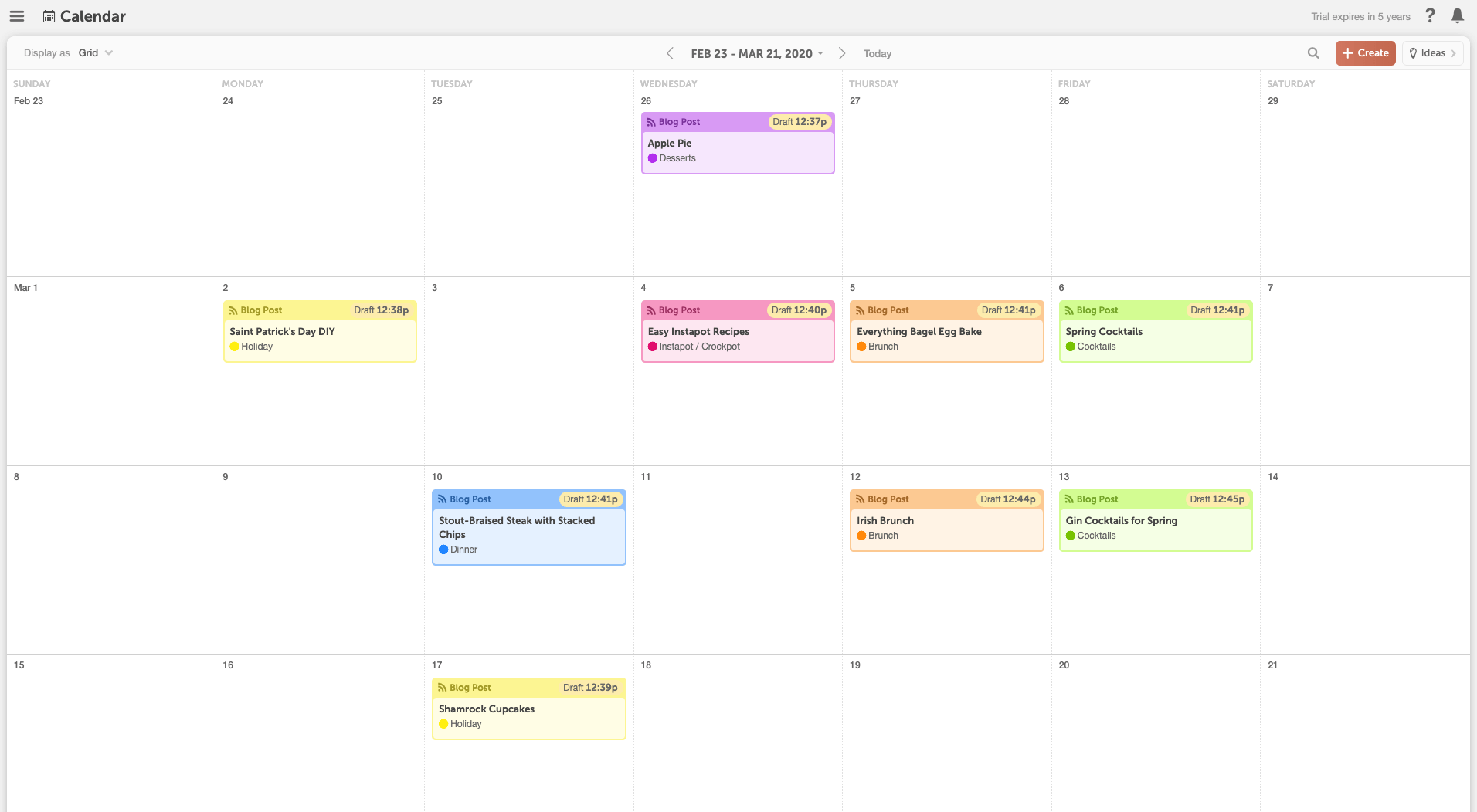 Calendar With Topic Themes