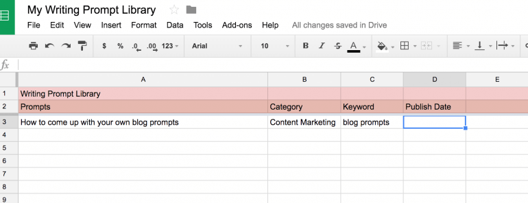 creative writing prompts library google sheets