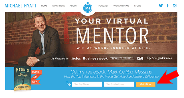 Website homepage from michaelhyatt.com