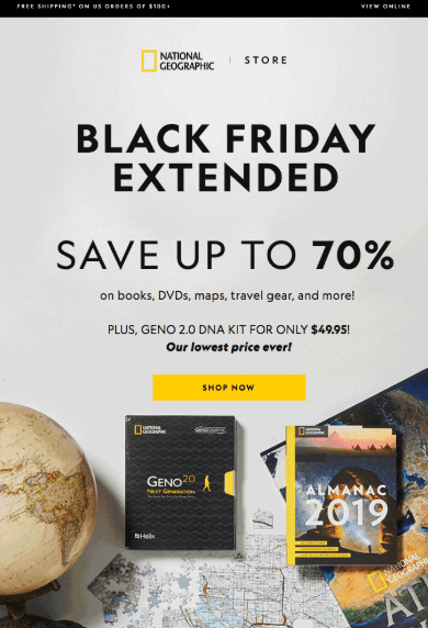 Black Friday promotion from National Geographic website for saving 70%