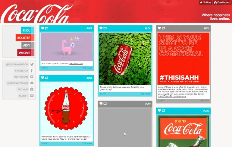 Visual content marketing examples - coca-cola