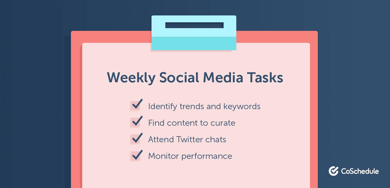 Weekly social media tasks