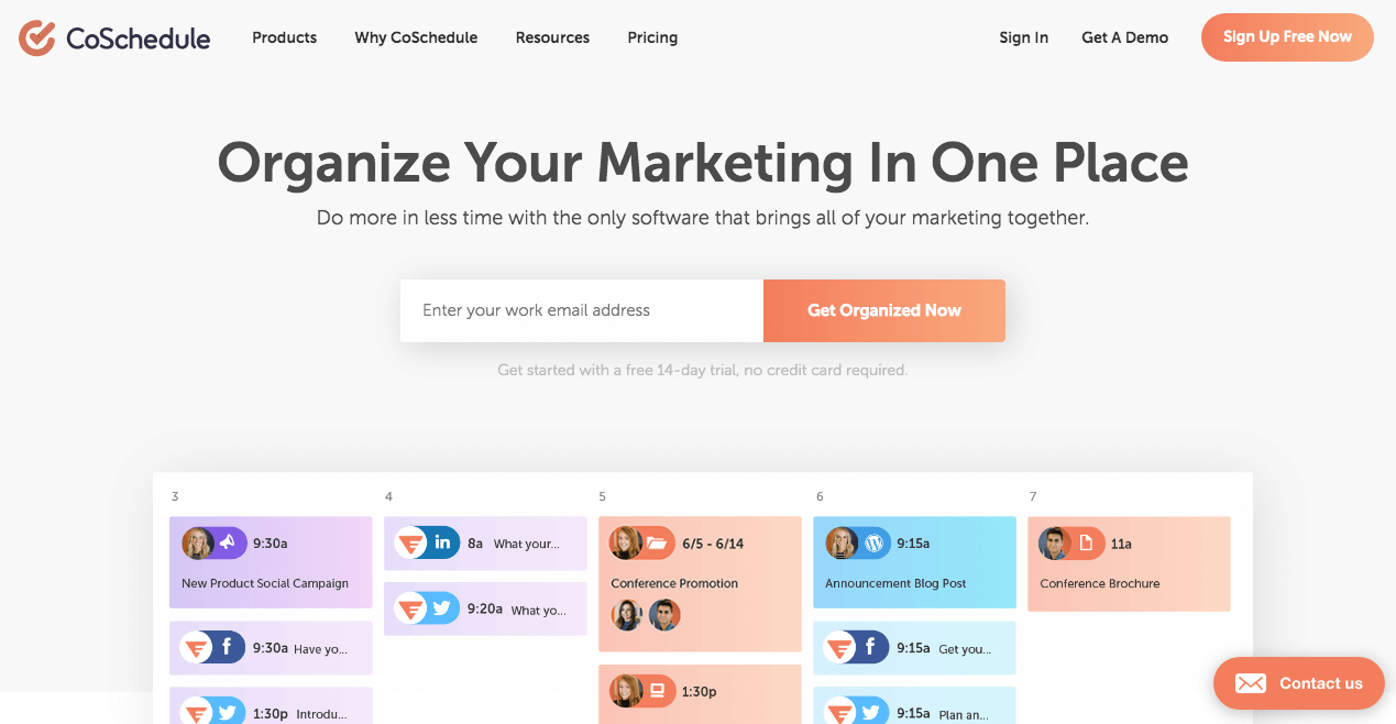 Screenshot of the CoSchedule homepage demonstrating great commercial promotions
