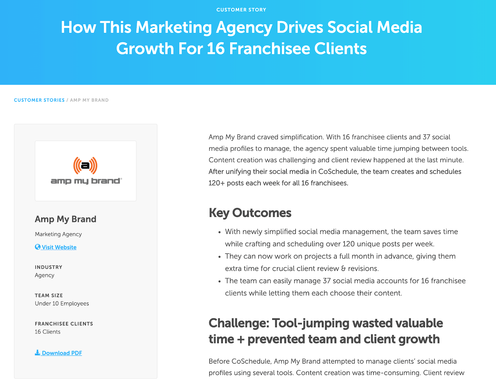 An example from a customer success story form Amp My Brand