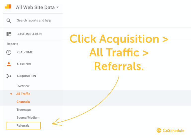 Acquisition > All Traffic > Referrals