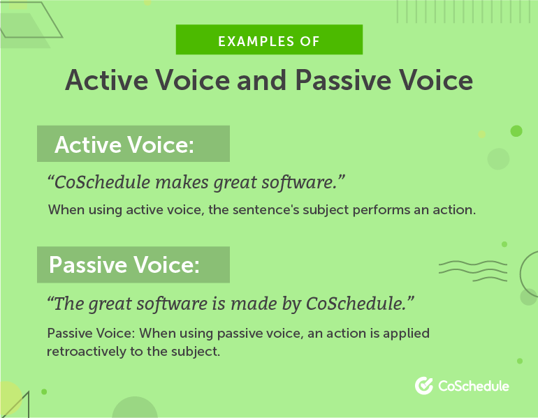 Examples of Active Voice vs. Passive Voice