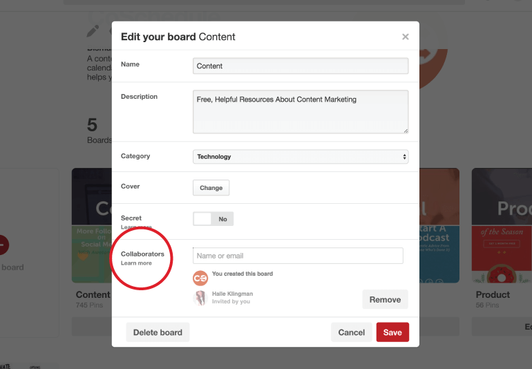 Add collaborators to Pinterest groups