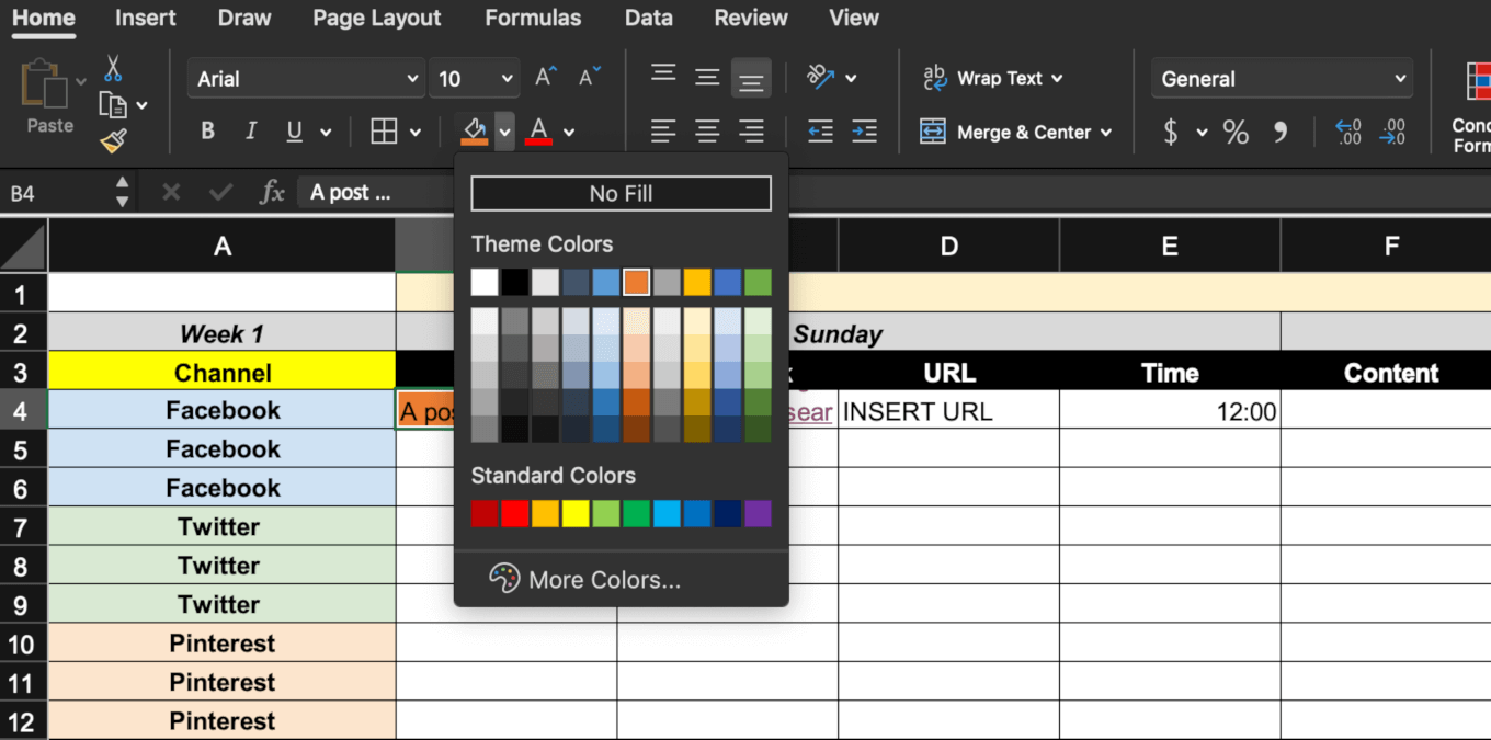 Adding color coding to the calendar