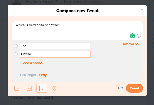 Add in Twitter poll questions