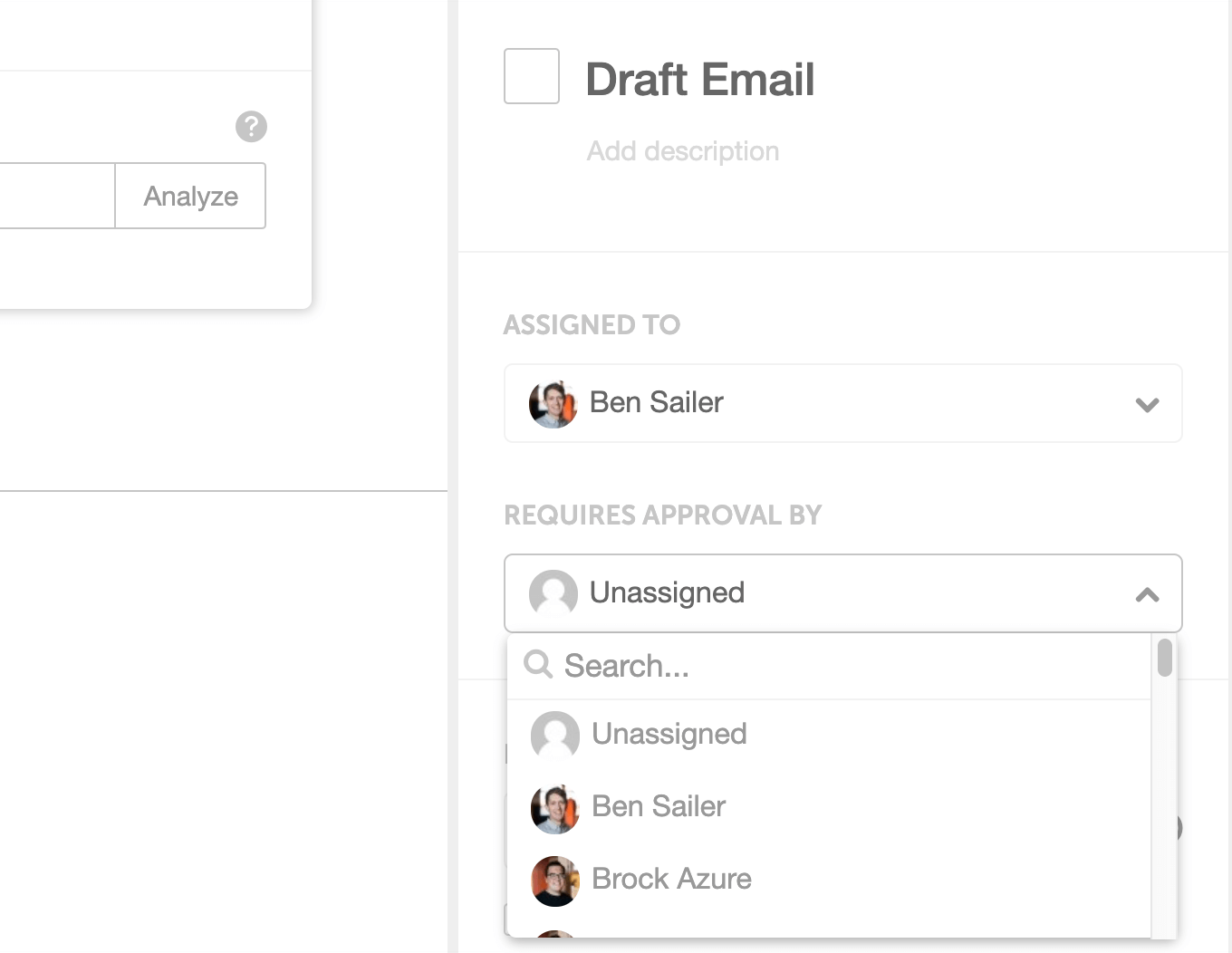 Assign tasks to team members and who the tasks need approval from