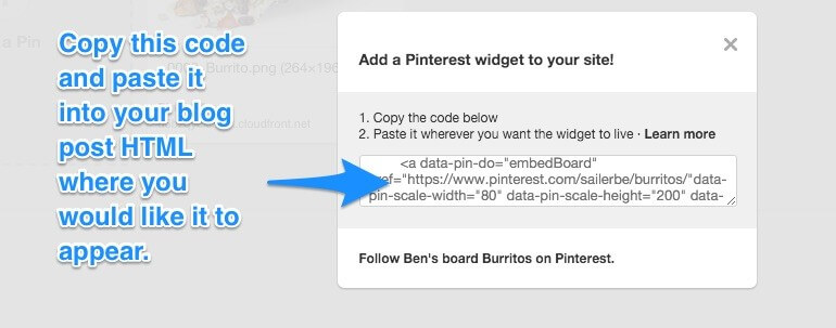 Copy this code to create your Pinterest widget