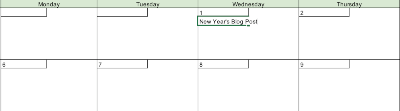Example of adding content to the calendar