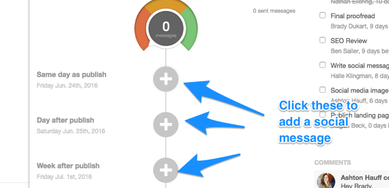 Adding social messages in CoSchedule
