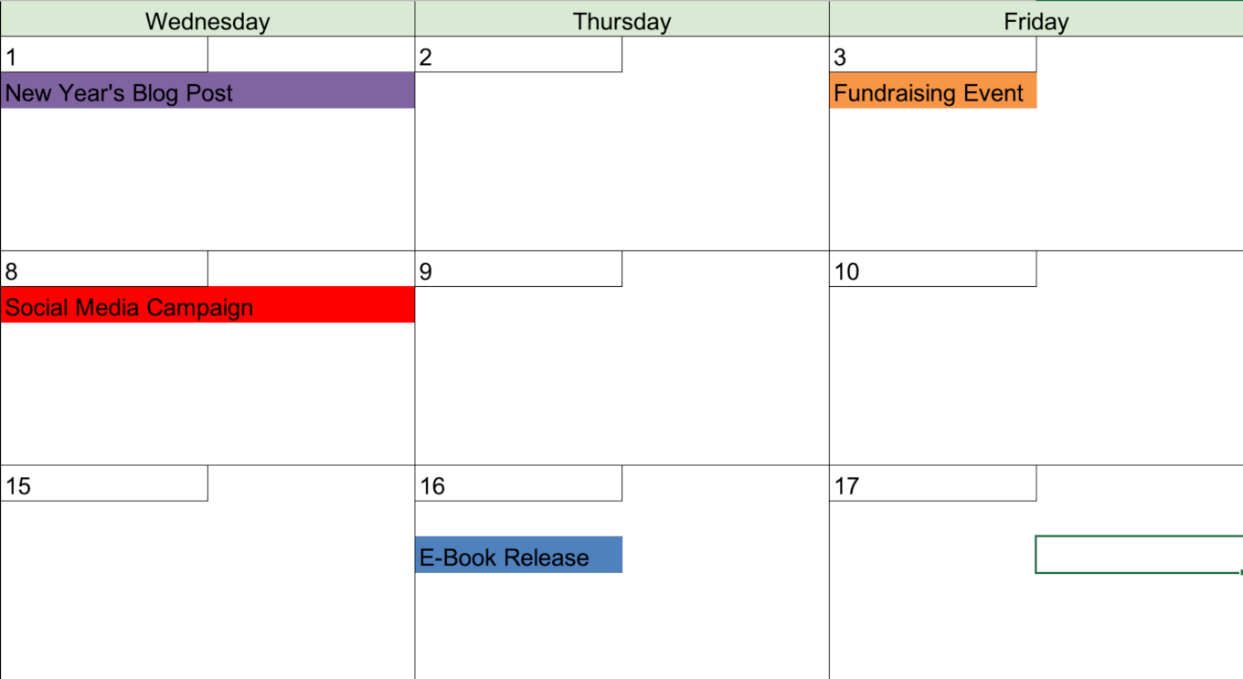 Additional color coding on the calendar