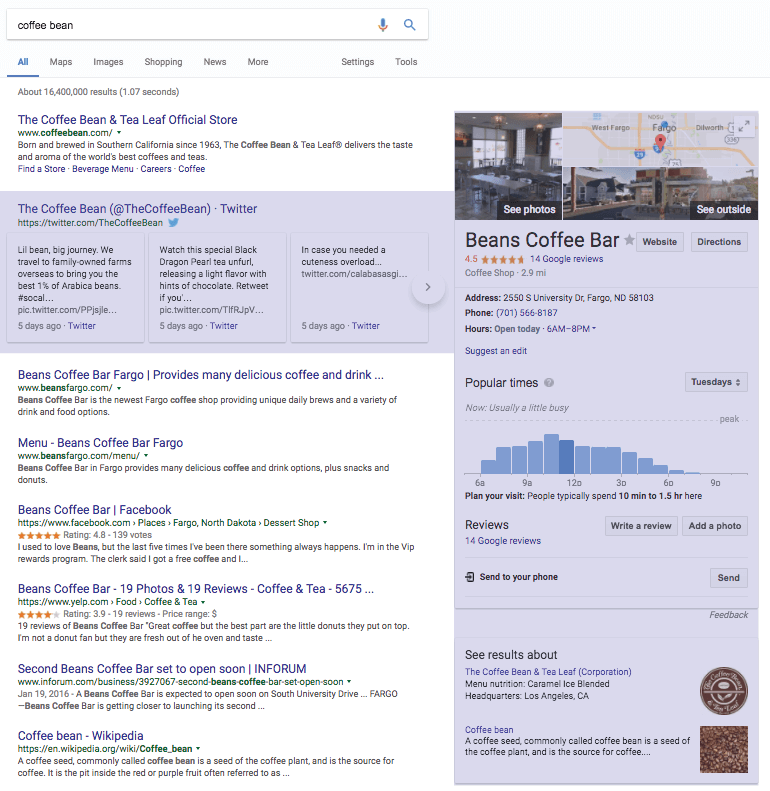 Additional search elements in Google SERPs