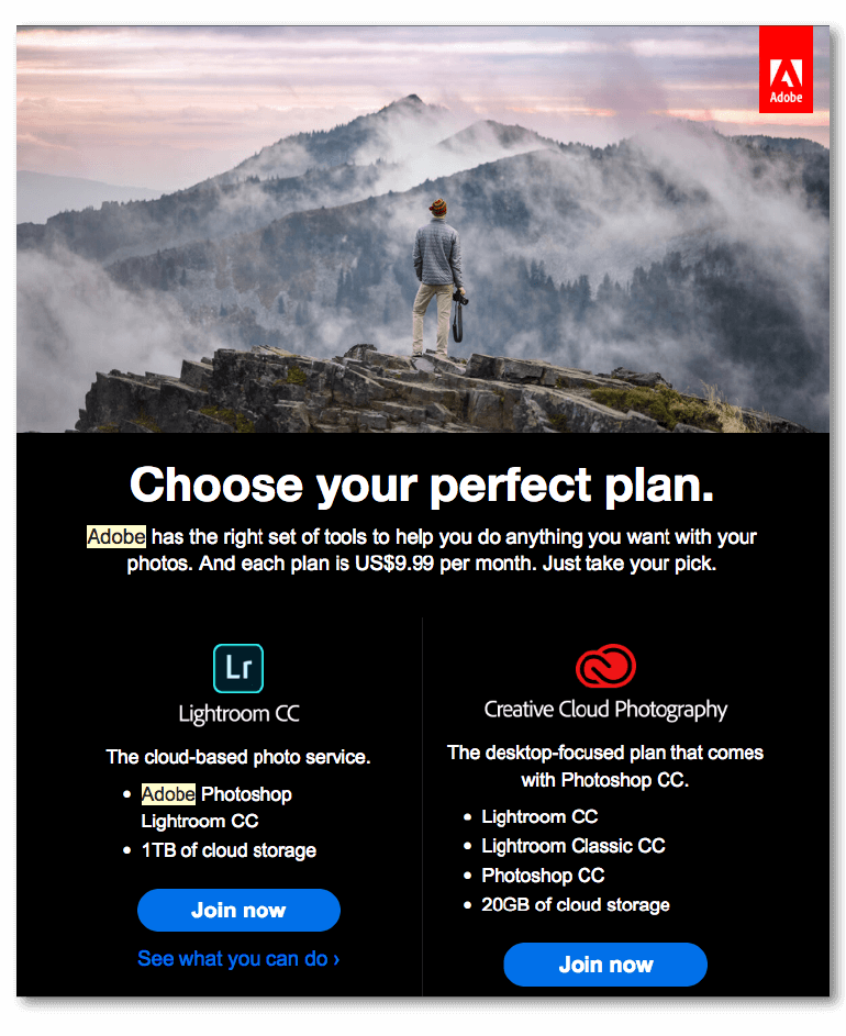 Email marketing example with two CTAs from Adobe