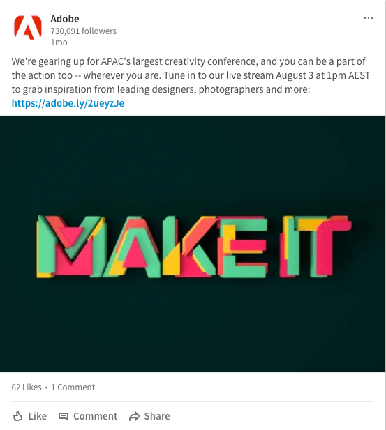 LinkedIn post example from Adobe
