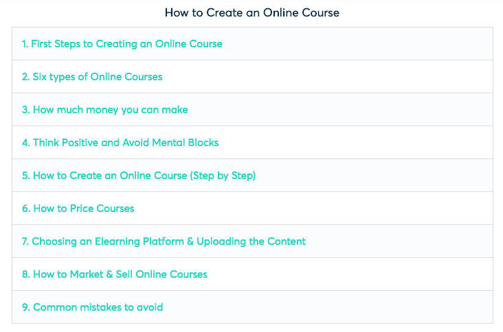 An example of a table of contents from the online course blog post
