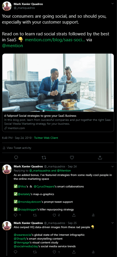 Social media distribution example - Twitter