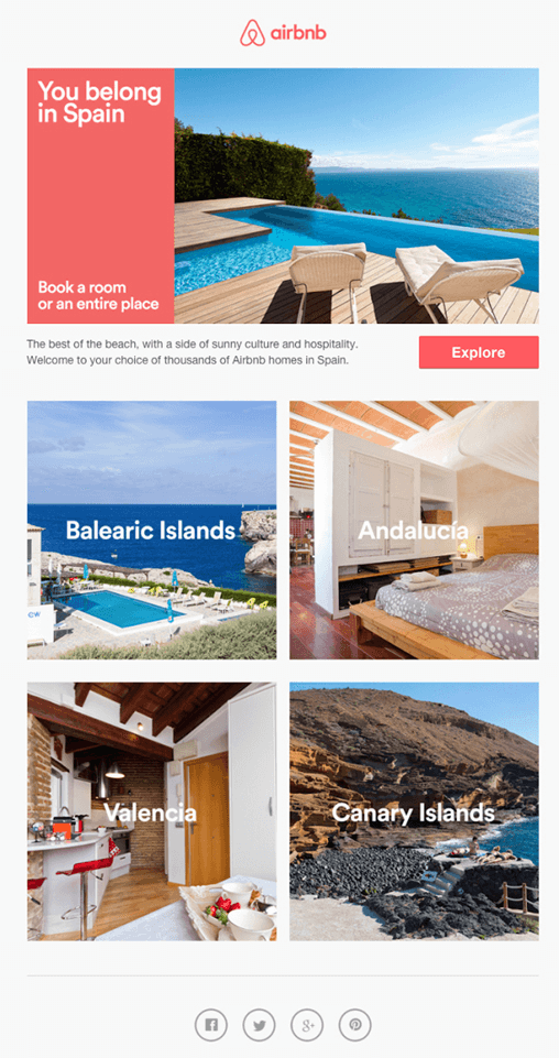 Another email newsletter from airbnb
