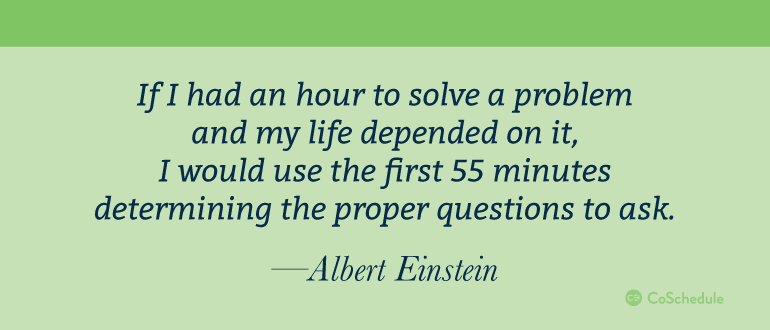 Quote from Albert Einstein on time spent solving problems