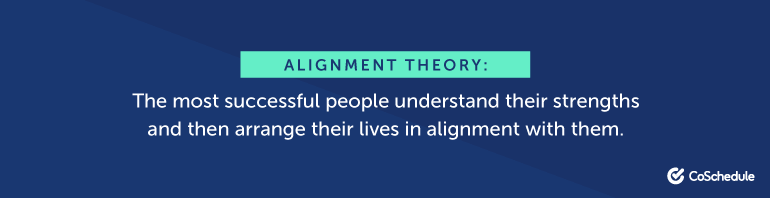 The most successful people understand their strengths and then arrange their lives in alignment with them.