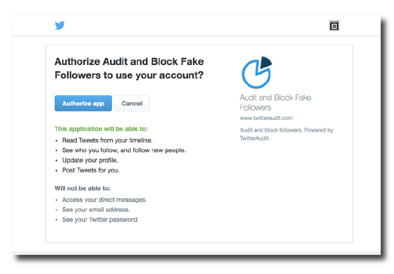 Allow Twitter Audit to access your profile.