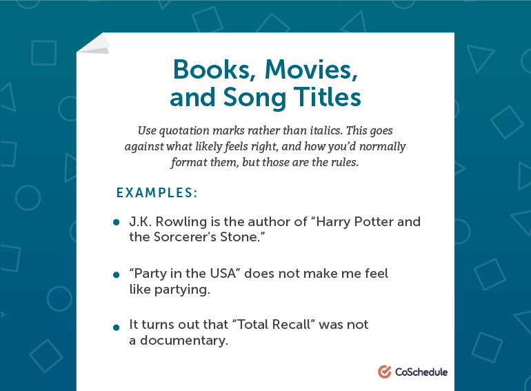 How to write Book Names, Movie Names, and Song Titles in AP Style
