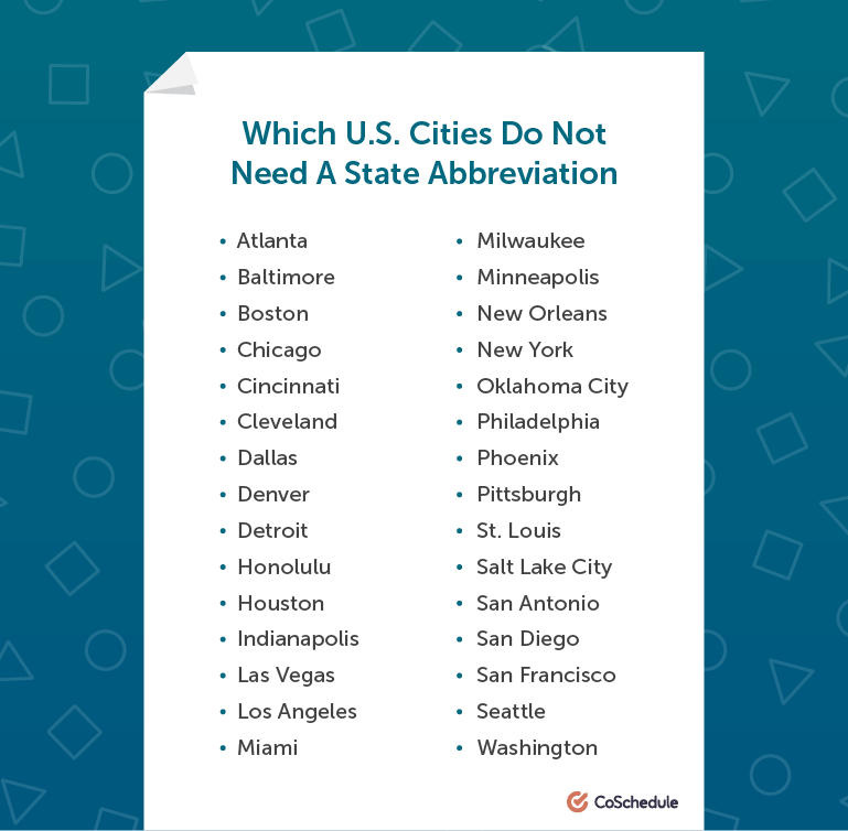Which cities don't need a state abbreviation in AP style?