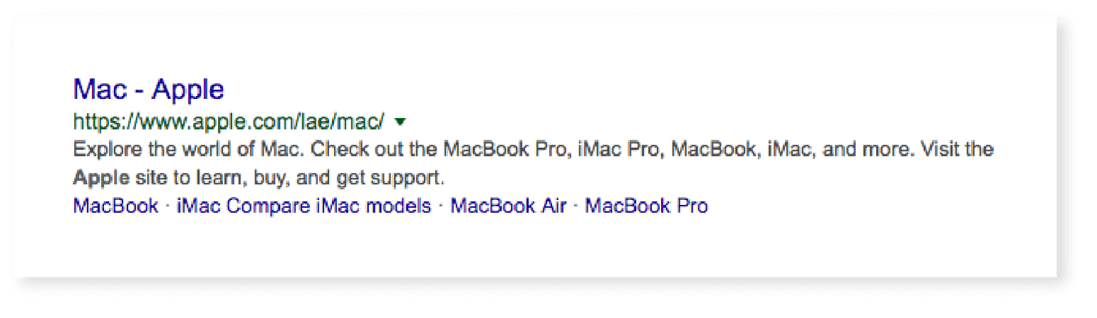 Example of a meta description and title tag from Apple