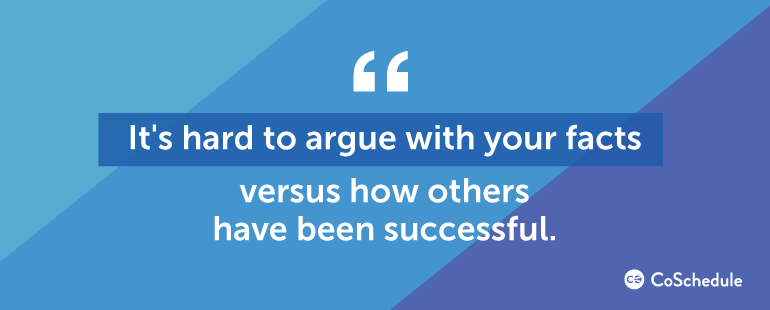 It's hard to argue with your facts, versus how others have been successful.