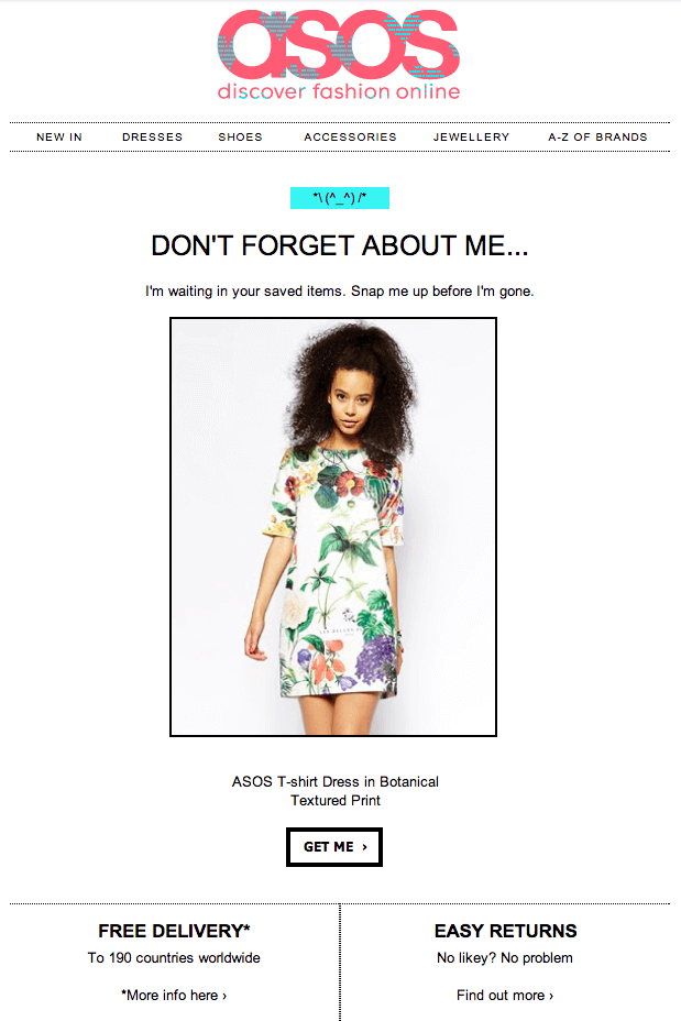 Email from asos about items left in your cart