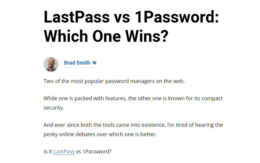 Article by Brad Smith about whether LastPass or 1Password is superior