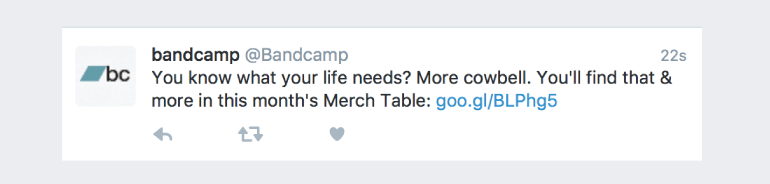 Example of a tweet from Bandcamp