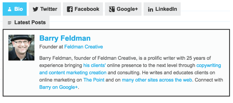 Barry Feldman Author Box Screenshot