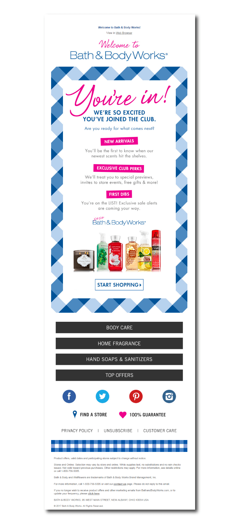 Example of a welcome email from Bath and Body Works
