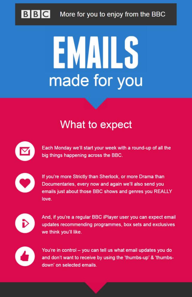 Example of a welcome email from the BBC