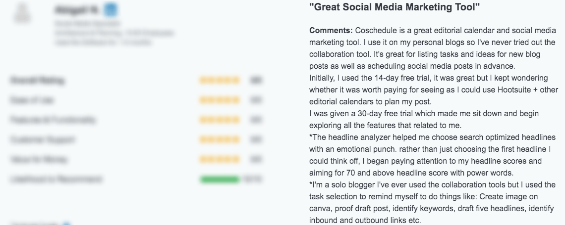 A review for CoSchedule on Capterra