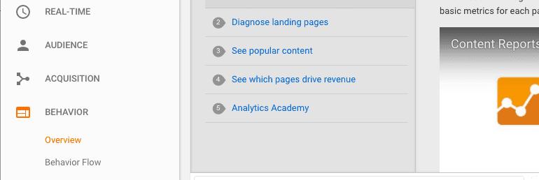 Where to find Behavior in Google Analytics