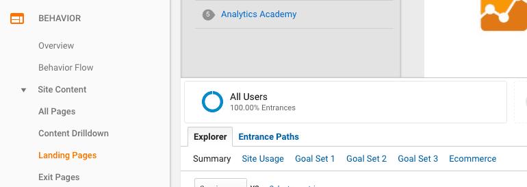 Where to find Landing Pages under Behavior in Google Analytics