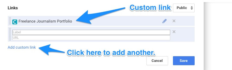 Example of a custom link on Google+