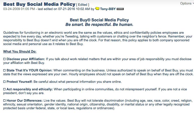 Best Buy Social Media Policy
