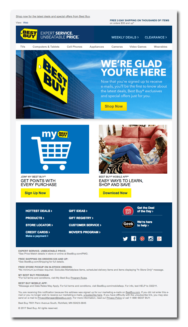 Example of a welcome email from Best Buy